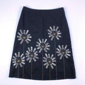 Boden Black Floral Sequin A Line Skirt
